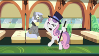 Sweetie Belle with a top hat and cane S9E22