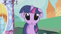 Twilight's eyes glazed when she sees Applejack's food S1E03