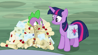 Twilight and Spike look at each other S9E5