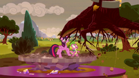 Twilight and Spike see tree pulled away from the ground S5E26