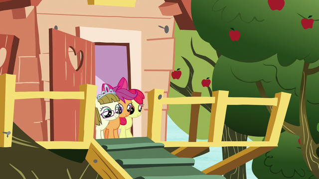 File:Apple Bloom, Scootaloo, and Zipporwhill watch Rarity and Sweetie leave S7E6.png
