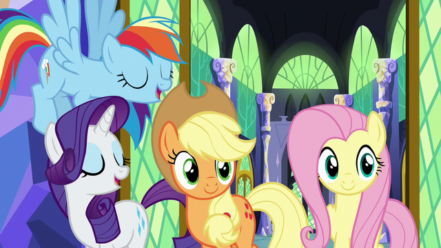 File:Applejack and friends agree with Twilight Sparkle S7E11.png
