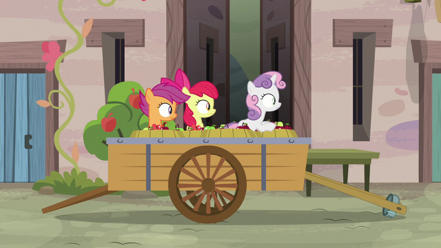 File:Cutie Mark Crusaders observe Big Mac from the cart S7E8.png