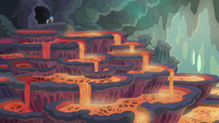 Ember and Spike in chamber of lava pools S6E5