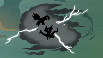 Flash dodges the dragons inside the thundercloud S7E16