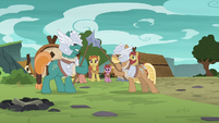 Mighty Helm ponies having a sparring match S7E16
