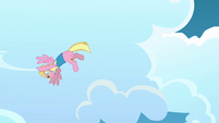 Pink Pegasus flying in a circular motion S3E07