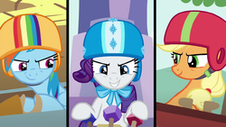 Rainbow Dash, Rarity and AJ ready to race S6E14