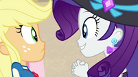 Rarity asking for Applejack's help EGDS15