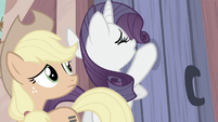 Rarity paws feebly at Starlight's door S5E2