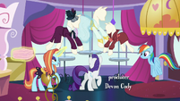 Sassy fixes one of the dress and levitates fabric S5E15