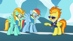 Spitfire points at rainbow and lightning