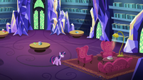 Twilight Sparkle entering the castle library S7E3
