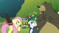 Woodpecker lands in Rarity's leaf wig S7E19