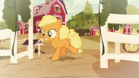 Young Applejack gallops away from farm S9E10