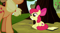 Apple Bloom grinning at Applejack S8E12