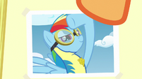 Close-up on photo of Rainbow as Wonderbolt cadet S7E7