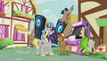 DJ and Octavia about to crash into Button, Hughbert, and Dance Fever S5E9.png