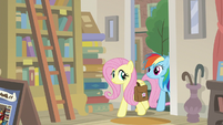 Fluttershy and RD enter the bookstore S9E21