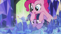 Pinkie on Twilight's head S5E8