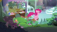 Pinkie trotting into Maud's house S8E3