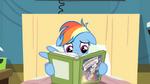 Rainbow Dash ears down while reading S2E16