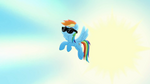 Rainbow Dash in the sky with black glasses
