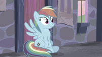 Rainbow sees Applejack running towards her S5E02