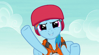 Rainbow wearing helmet and life vest S8E9