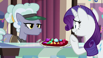 Rarity looking embarrassed at Clarity Cut S9E19