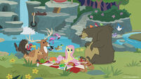 Season 8 promo image - Fluttershy having a sanctuary picnic