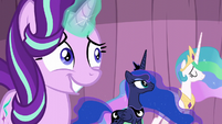 Starlight grinning awkwardly; Celestia nodding S6E2