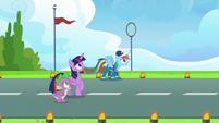 Twilight, Spike, and Rainbow look worried S9E26