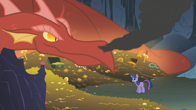 File:Twilight Sparkle try to talk to the dragon S1E7.png