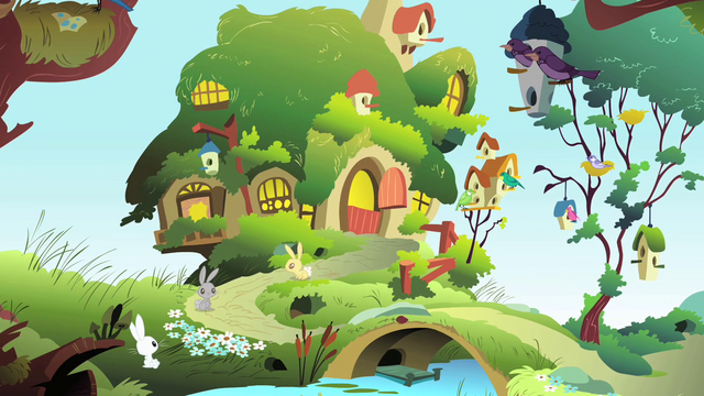 Arquivo:View of Fluttershy's Cottage S1E22.png