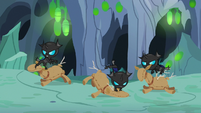 Young changelings beat up stuffed dummies S7E17