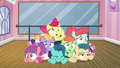 Apple Bloom and foals in a pile on the floor S6E4.png