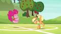Applejack bucks the ball while Pinkie bounces S6E18.png