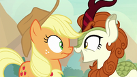 Autumn and Applejack muzzle-to-muzzle S8E23