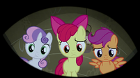 Cutie Mark Crusaders looking down at Trouble Shoes S5E6