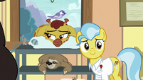 Dr. Fauna smiling at Fluttershy S7E5