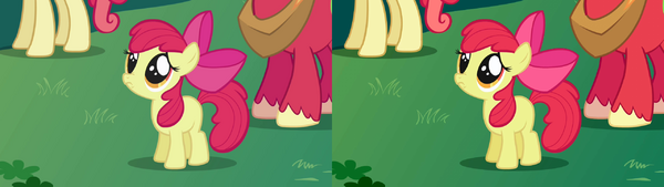 """FANMADE Apple Bloom """"Aren't you going to stay for brunch"""" S1E01 version comparison 2"""