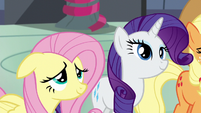 Fluttershy and Rarity looking at Rainbow S6E7