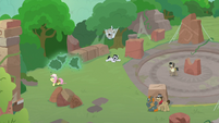 Fluttershy lures fly-ders away from Withers S9E21