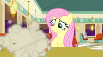 Fluttershy watches raccoons eating pie S6E9
