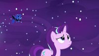 Nightmare Moon flying over Starlight Glimmer S7E10
