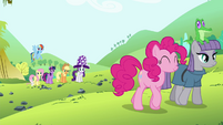 Pinkie Pie's friends see Pinkie Pie and Maud leaving S4E18
