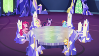 Pinkie Pie hops out of her throne S6E15