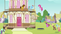 Pinkie Pie jumping on a trampoline S4E12