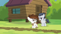 Pipsqueak looks nervously at disappointed Rumble S7E21